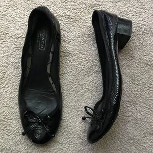 Coach Patent Leather Block Heeled Ballet Flats